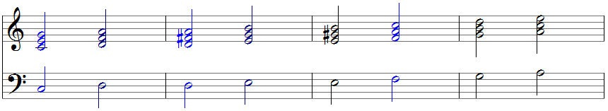 Acht Akkorde in Klaviernotation